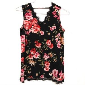 Black Floral Tank Top with lace